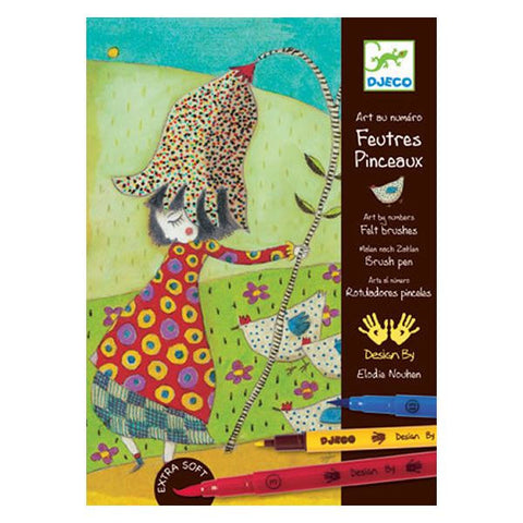 Djeco Wild Flowers Felt Tip Brush Art Kit