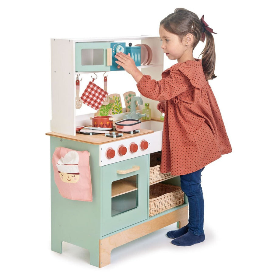 Tender Leaf Toys Mini Chef Kitchen Range with Girl | Wooden Play Kitchen | Oompa Toys