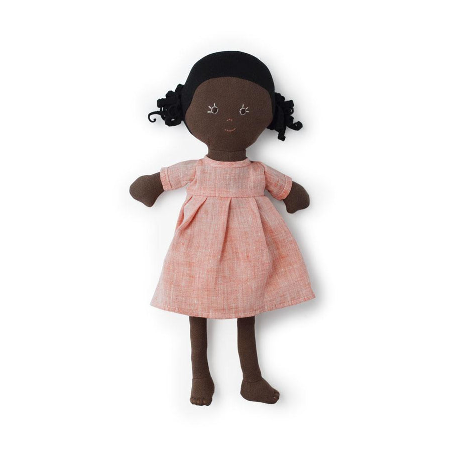 Hazel Village - Ada Organic Rag Doll In Coral Linen Dress - Oompa Toys - Full