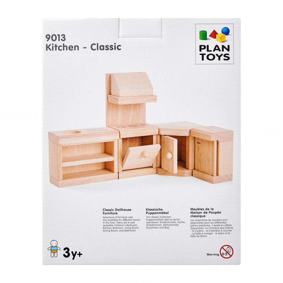 Classic wooden dollhouse furniture kitchen