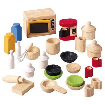 Plan Toys Dollhouse Kitchen & Tableware Accessories | Wooden Toys | Oompa