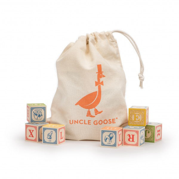 Classic Wooden Alphabet Blocks with Canvas Bag