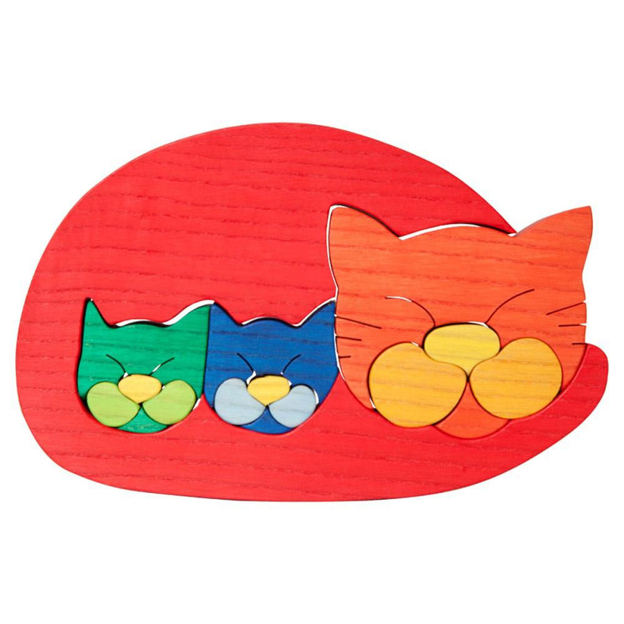 Wooden Cat and Kittens Puzzle - Oompa Toys