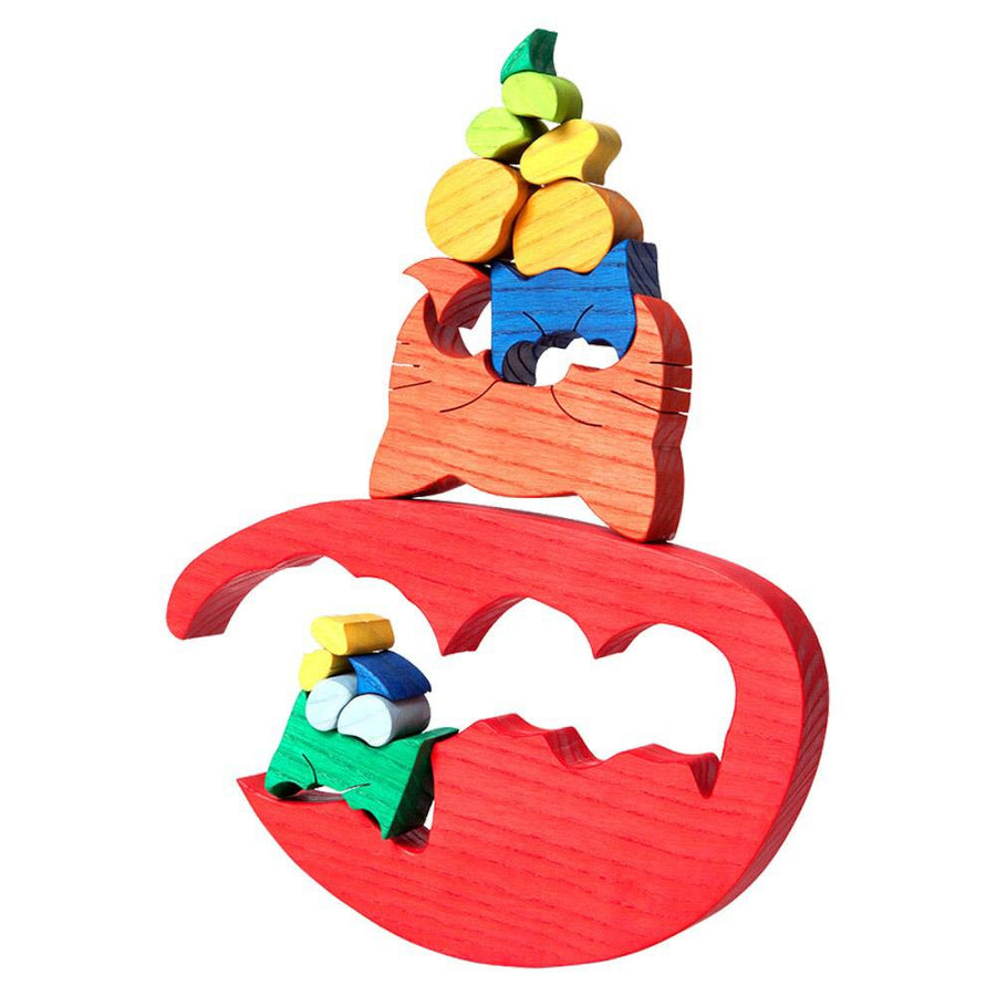 Wooden Cat and Kittens Puzzle Stacked - Oompa Toys