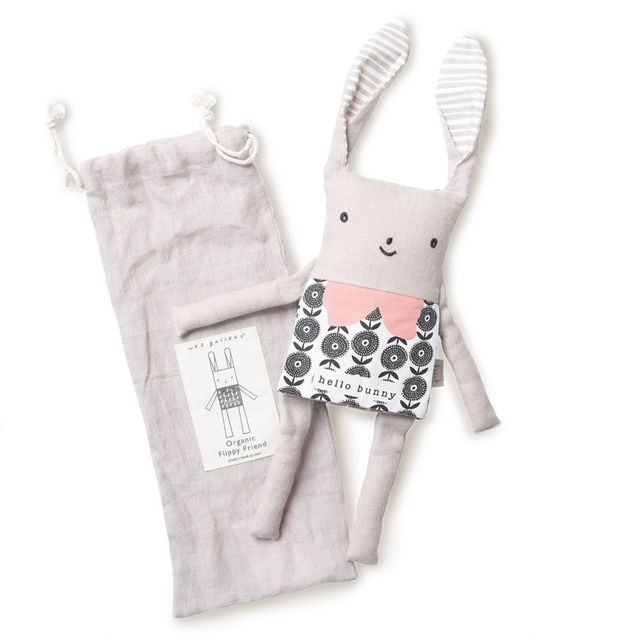 Wee Gallery - Flippy Bunny Rabbit - Organic Plush Baby Toy - Muslin Storage Bag