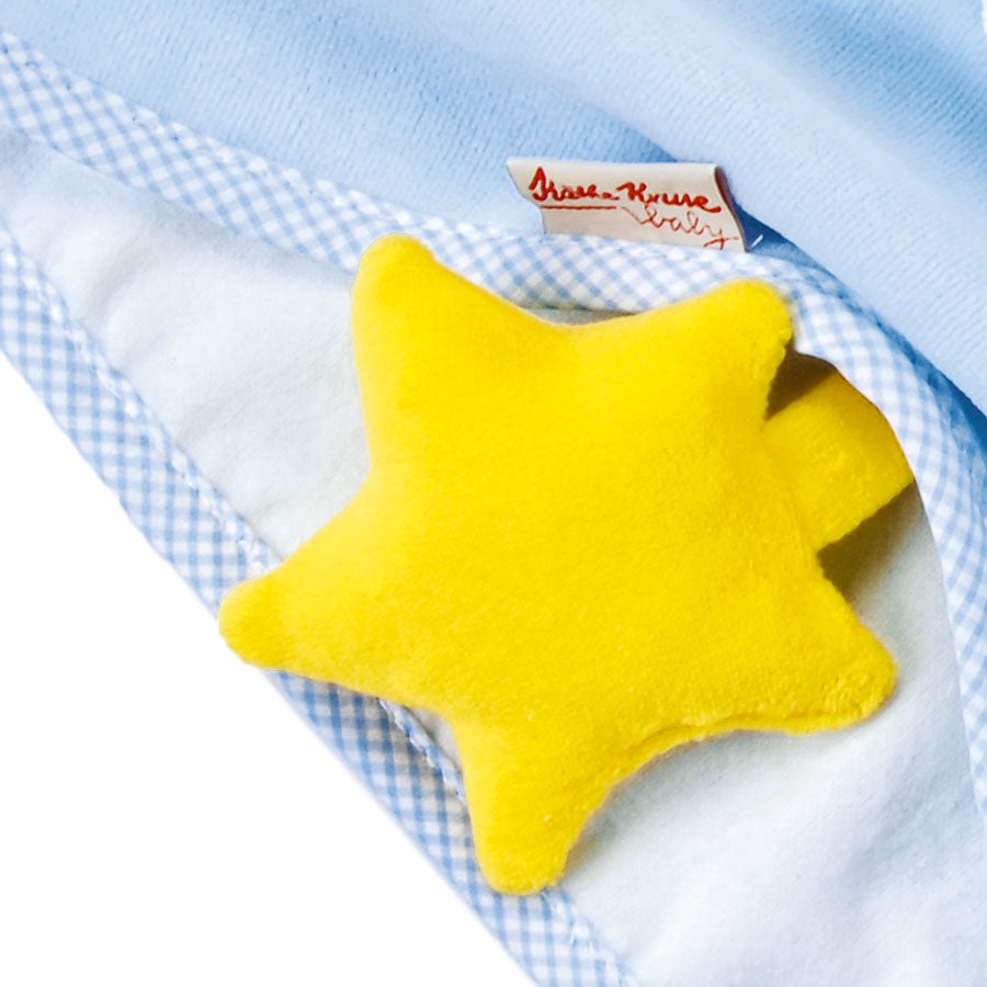 Kathe Kruse Organic Towel Blanket Doll Blue - Star Detail