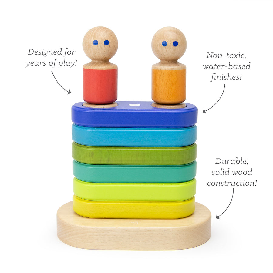 Magnetic Floating Stacker - Details - Tegu - Oompa Toys