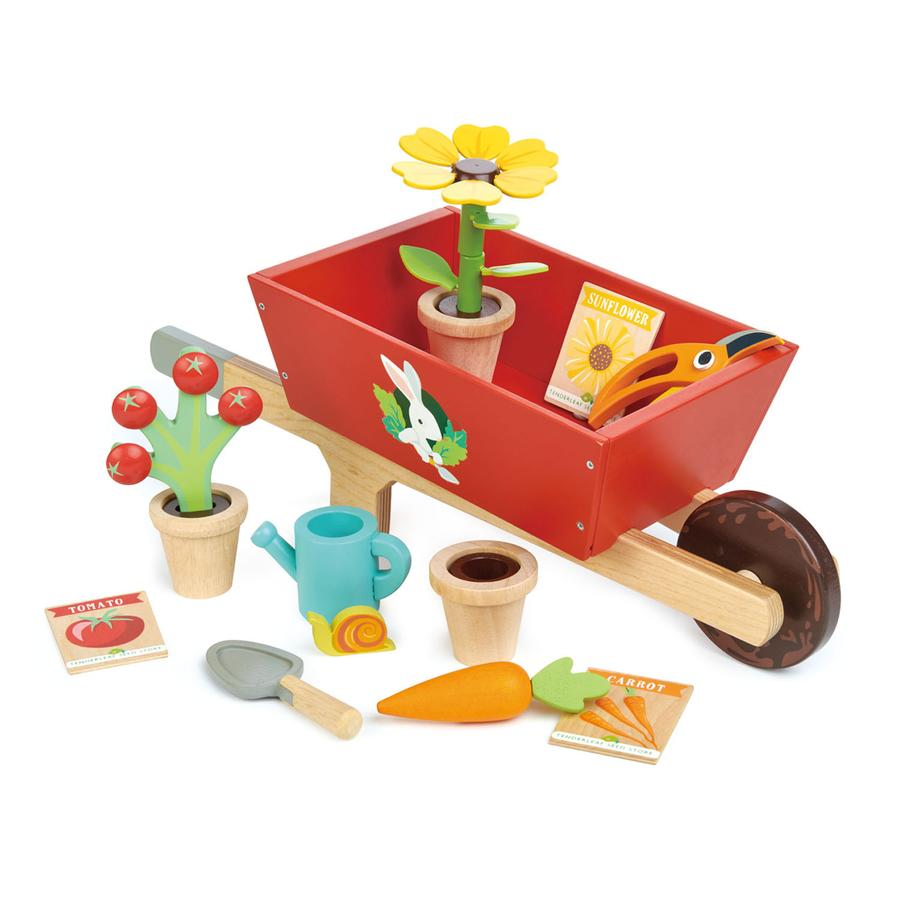 Tender Leaf Toys - Garden Wooden Wheelbarrow Set Pieces - Oompa Toys