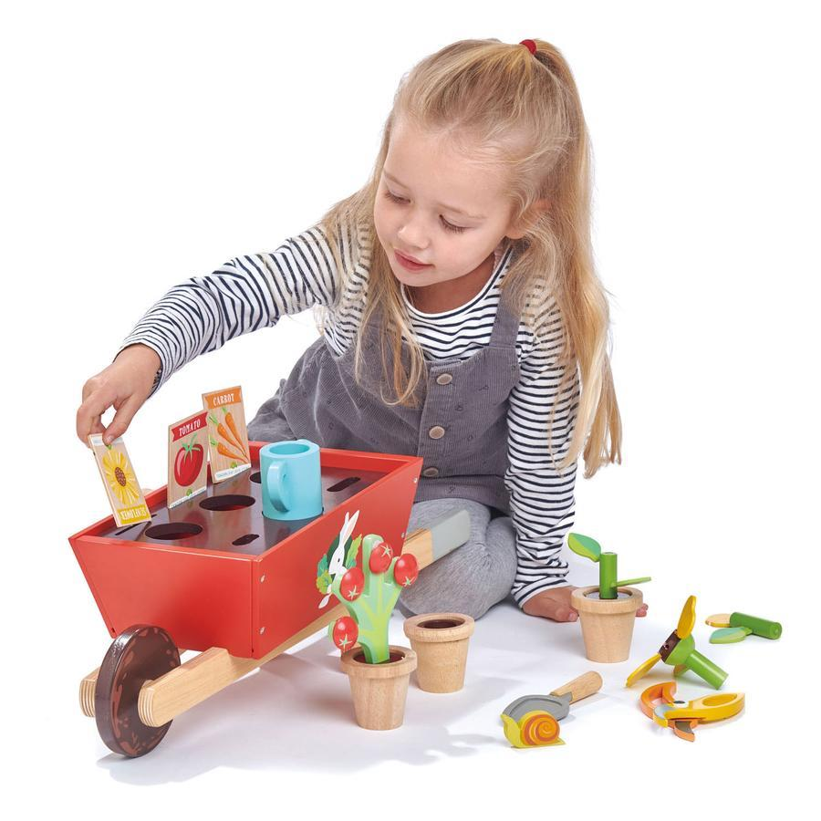 Tender Leaf Toys - Girl with Wooden Garden Wheelbarrow Set - Oompa Toys