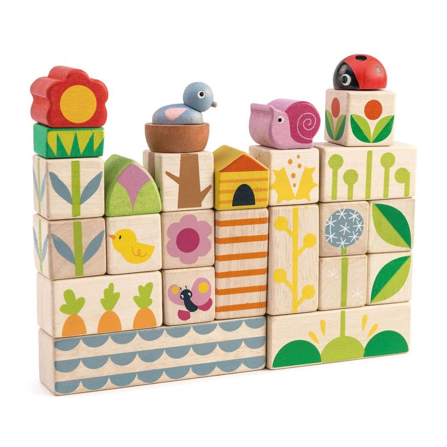 Garden Wooden Blocks - Stacked - Tender Leaf Toys - Oompa Toys