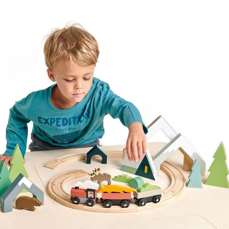 Tender Leaf Toys - Boy Playing - Treetops Wooden Train Set - Oompa Toys