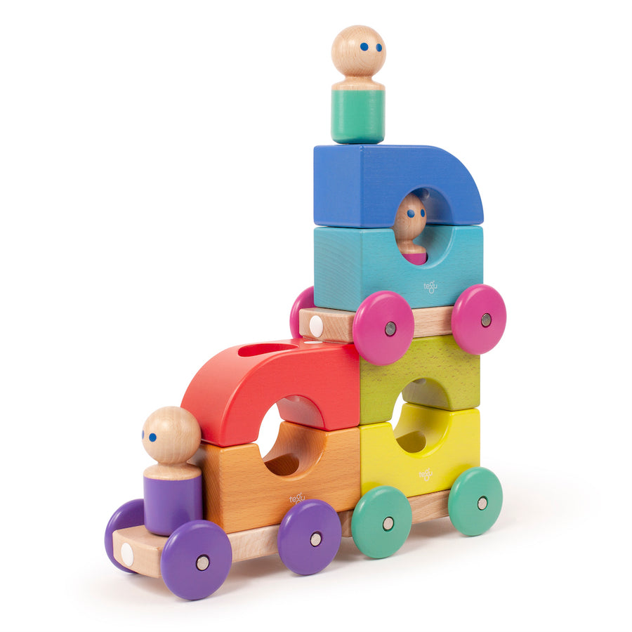 Stacked Wooden Magnetic Tram - Tegu - Oompa Toys