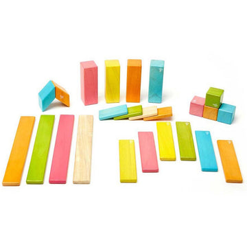 Tegu Magnetic Wooden Blocks - 24 Piece Set - Tints