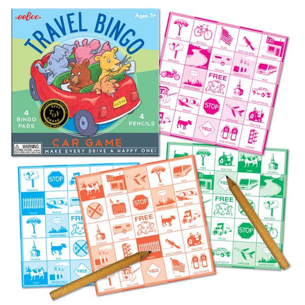 eeBoo Travel Bingo Car Game Contents
