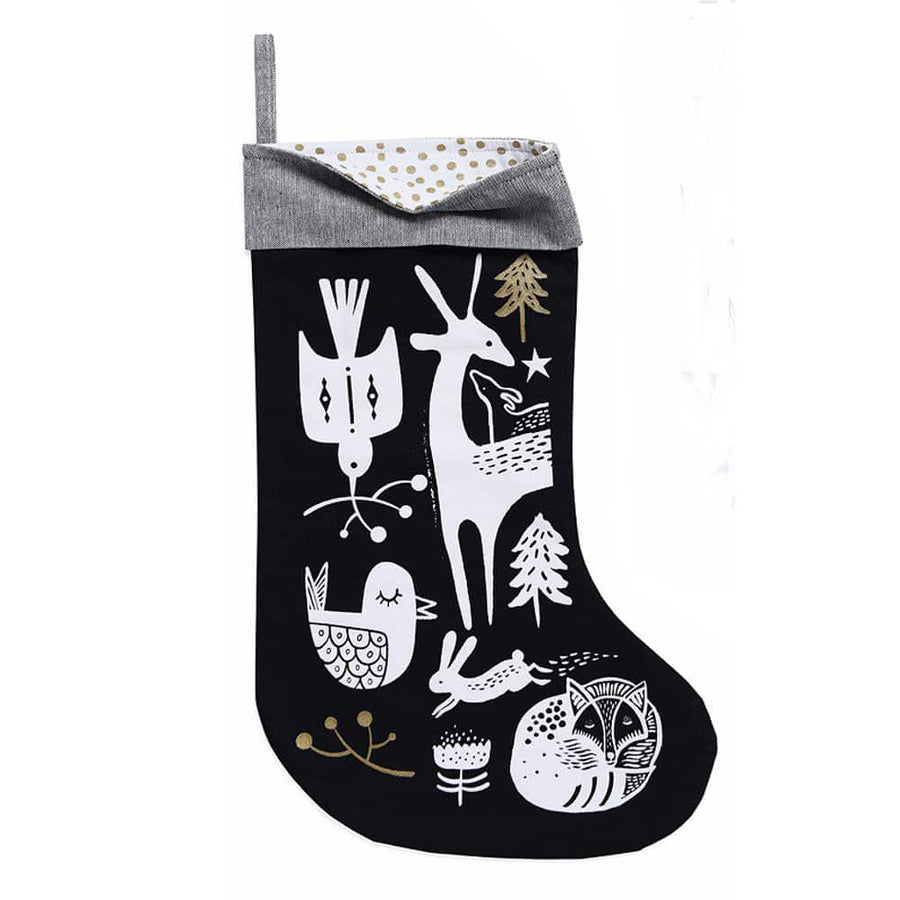 Wee Gallery Organic Christmas Stocking Winter Animals White On