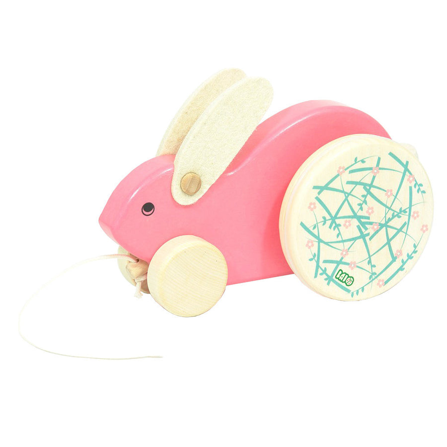 Wooden Easter Bunny Rabbit Pull Toy - Pink
