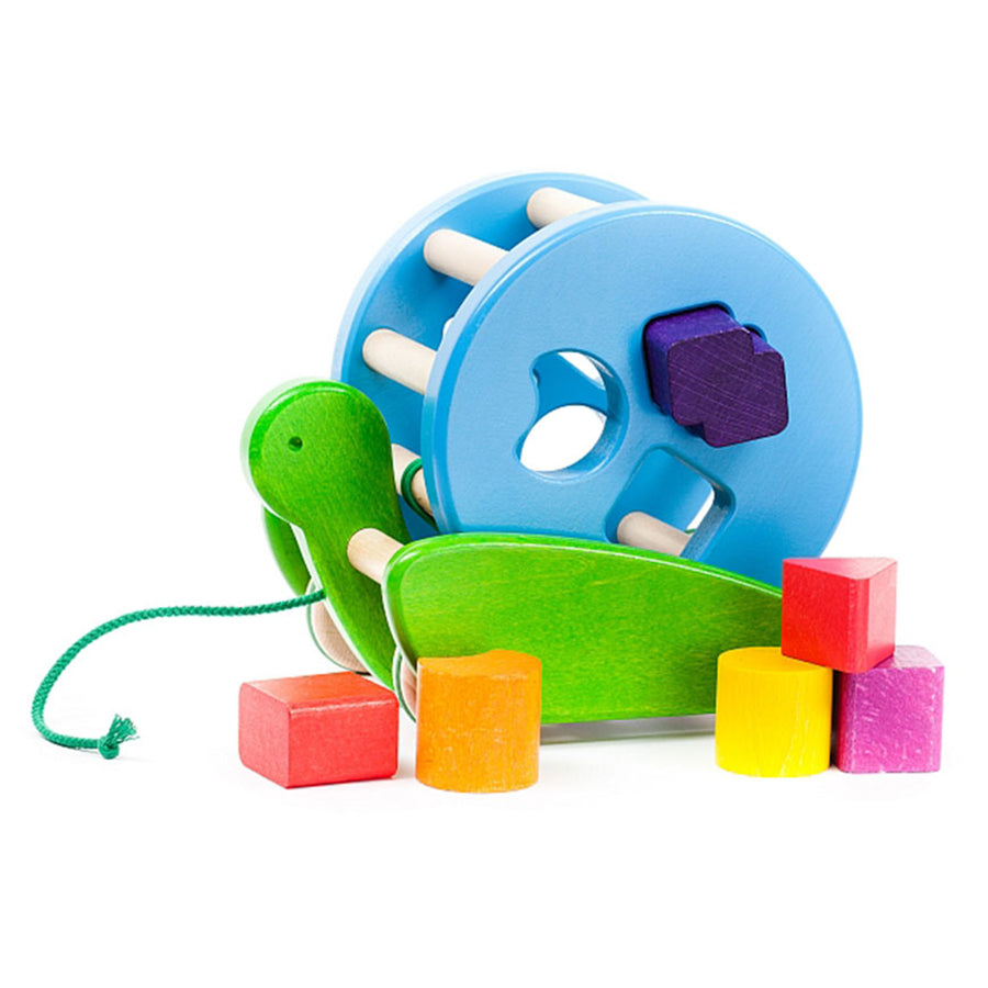 Bajo - Colored Turtle Sortroller - Shape Sorting Pull Toy