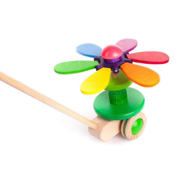 Bajo Rainbow Flower Wooden Push Toy