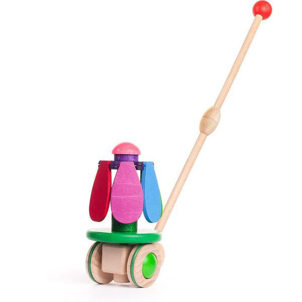 Bajo Rainbow Flower Wooden Push Toy, Petals Closed
