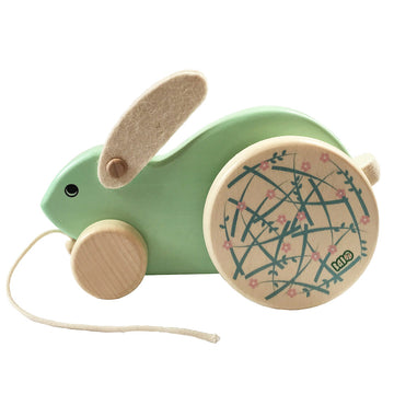 Bajo Wooden Easter Bunny Rabbit Pull Toy - Green