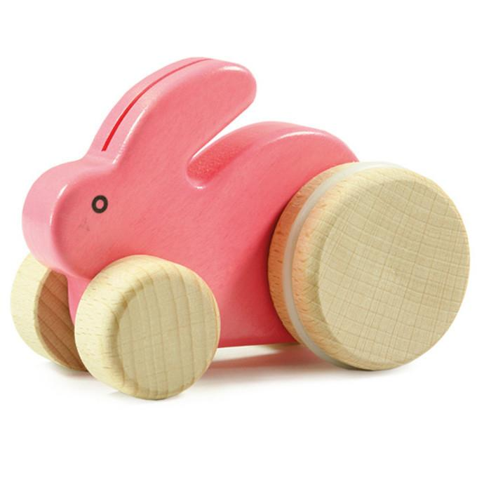 Small Rolling Rabbit Wooden Push Toy - Pink
