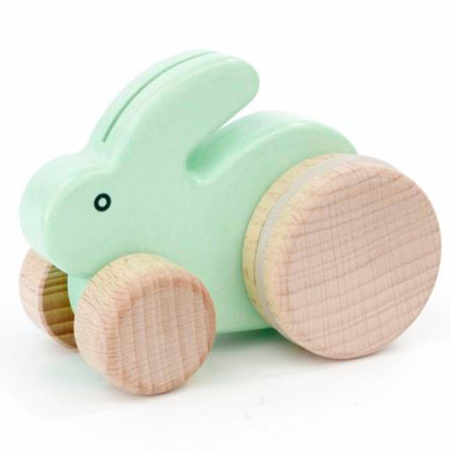Bajo Small Bunny Rabbit Toddler Wooden Push Toy, Green