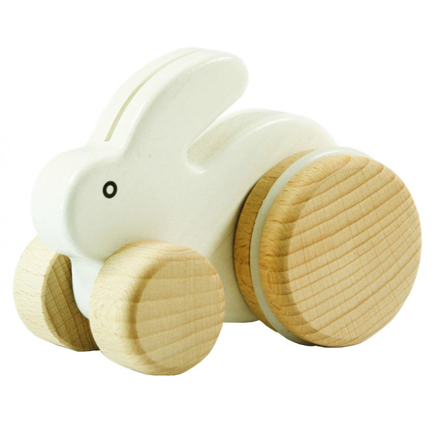 Bajo Small Bunny Rabbit Toddler Wooden Push Toy, White