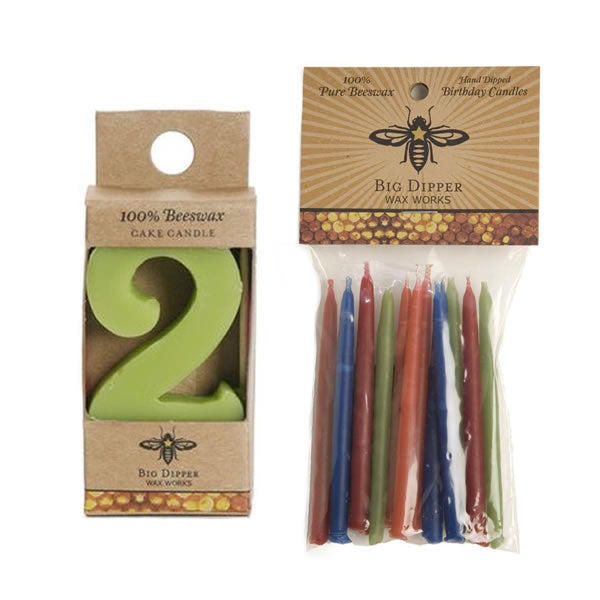 Beeswax Birthday Cake Candles - Number 2 - Oompa Toys