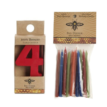 Beeswax Birthday Cake Candles - Number 4 - Oompa Toys