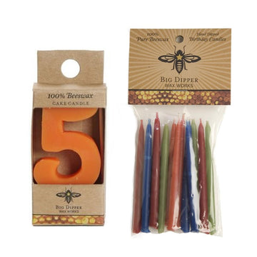 Beeswax Birthday Cake Candles - Number 5 - Oompa Toys