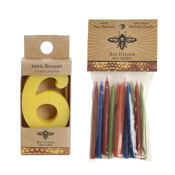 Beeswax Birthday Cake Candles - Number 6 - Oompa Toys