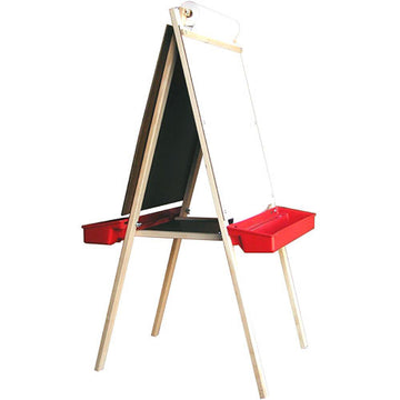 Deluxe Wooden Easel, Red Tray