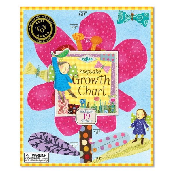 eeBoo Growth Chart - Hot Pink Flower - Oompa Toys