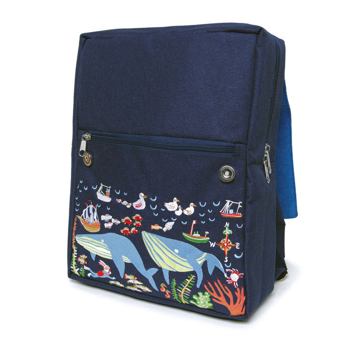 eeBoo Kid's Backpack - Happy Whales - Front Flap