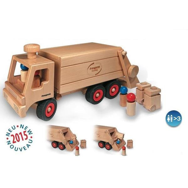 Wooden Toy Garbage Truck by Fagus, Germany