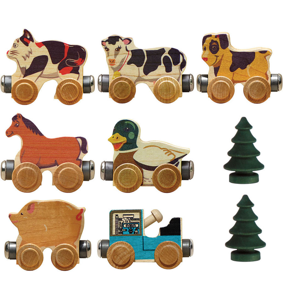 Maple Landmark Farm Animal Wooden Toy Train Set | Oompa Toys