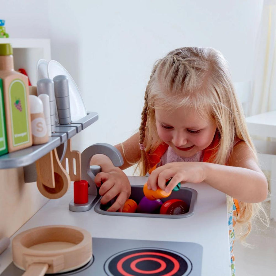 Wood Toy Kitchen with Girl - Hape - Oompa Toys