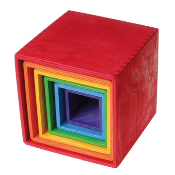Grimm's Spiel & Holz Wooden Rainbow Stacking Boxes | Oompa Toys
