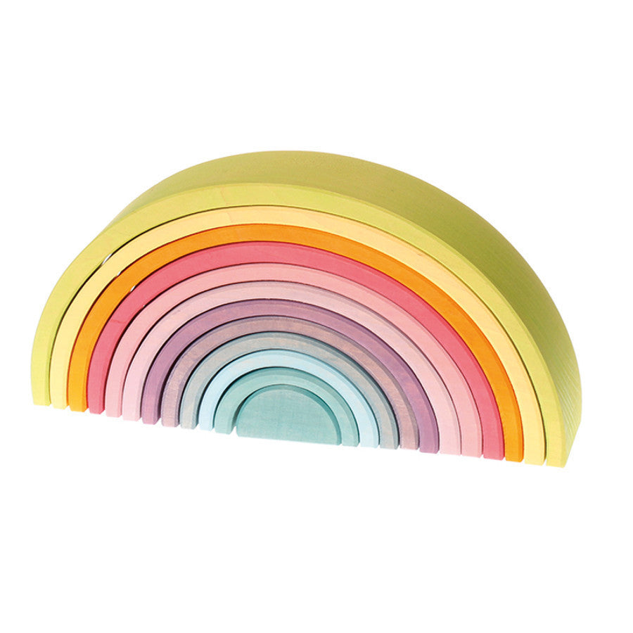 Grimm's Pastel Wooden Rainbow Tunnel, Large, 12 Pieces