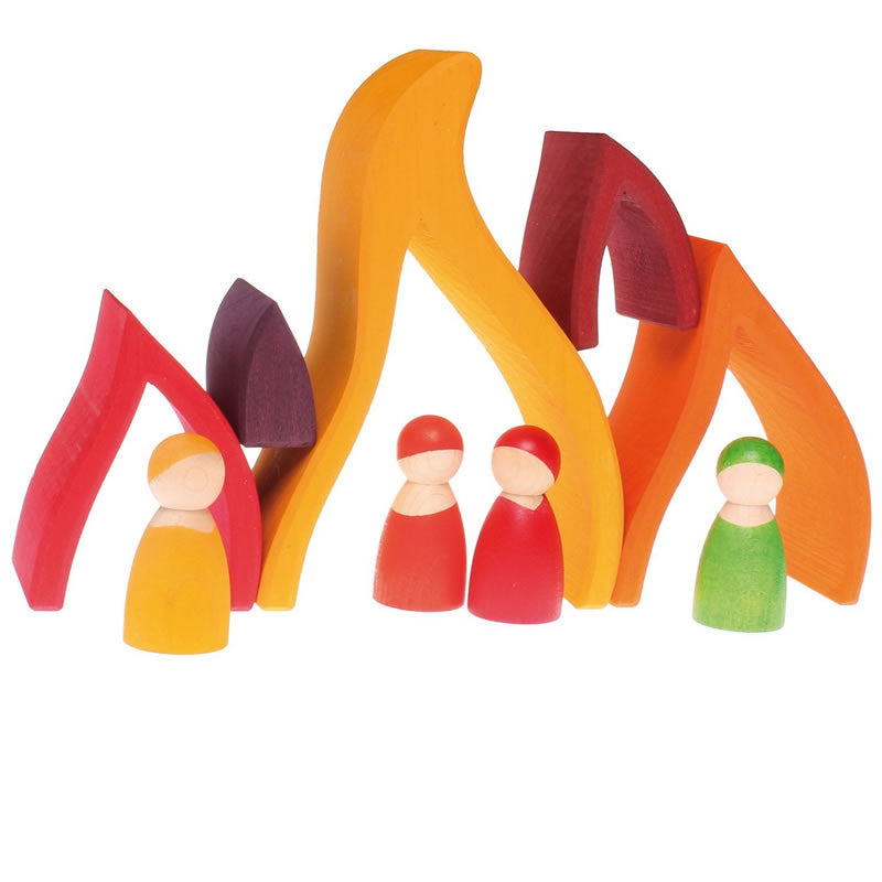 Grimm's Fire Wooden Nesting Elements Blocks with Peg People Dolls