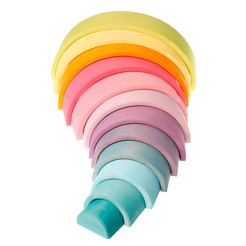 Grimms Pastel Large Wooden Rainbow Tunnel, 12 Pieces