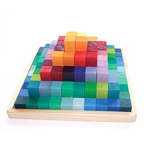 Stepped Pyramid Math Blocks | Grimm's Wooden Toys | Oompa Toys
