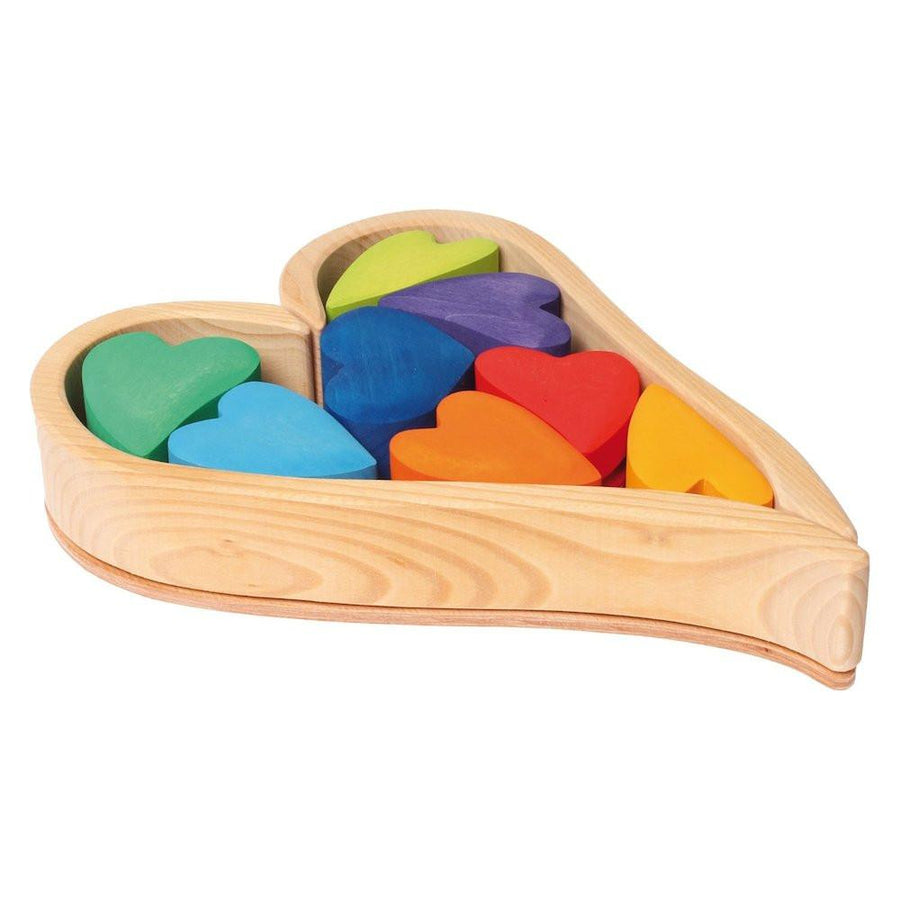 Grimm's Rainbow Wooden Heart Blocks | Oompa Toys