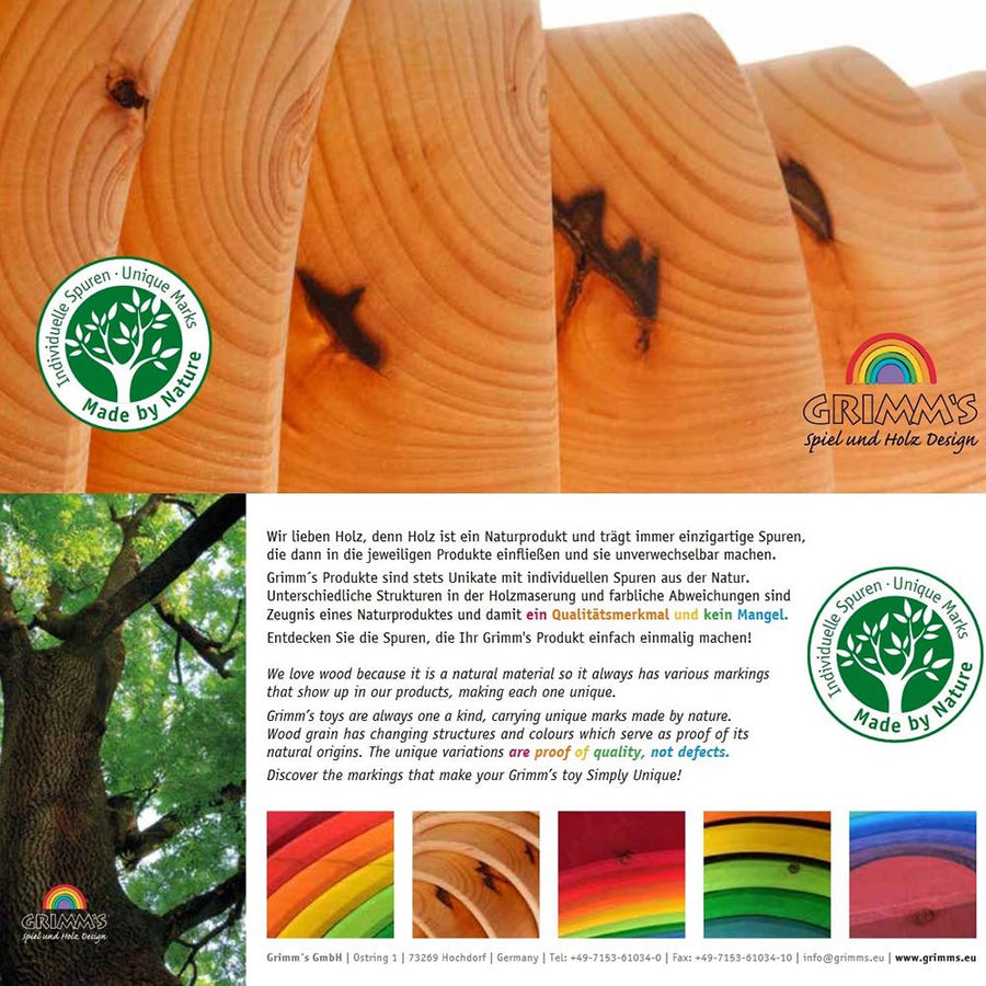 Grimm's Spiel & Holz Natural Wooden Rainbow 12 Pc | Oompa Toys | Label