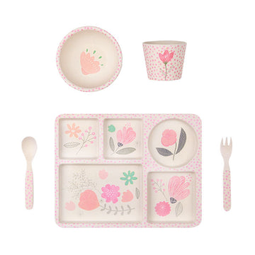 Love Mae Bamboo Dinnerware - Flower Garden - Five 5 Piece Set