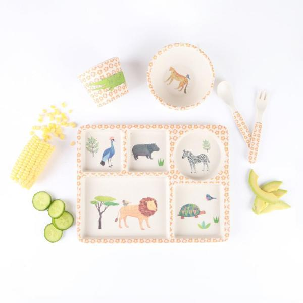 Love Mae Bamboo Five-Piece Dinnerware Set for Baby and Kids - On Safari