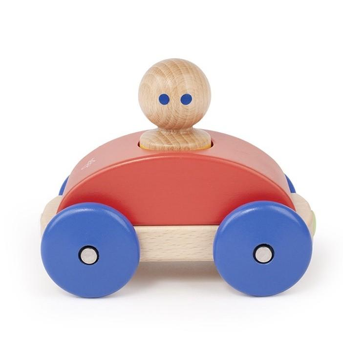 Wooden Magnetic Racer - Poppy Blue Yellow - Tegu - Oompa Toys
