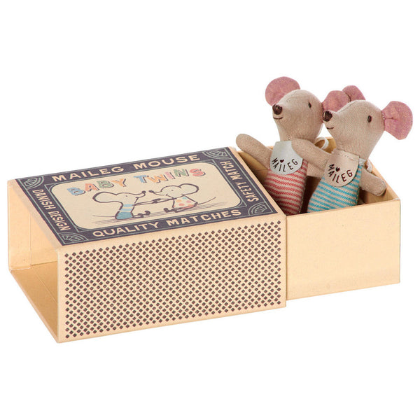 Baby Twin Mice in Matchbox