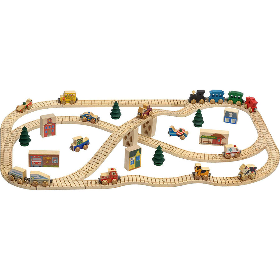Maple Landmark Ultimate Town Wooden Toy Train Set | Oompa Toys