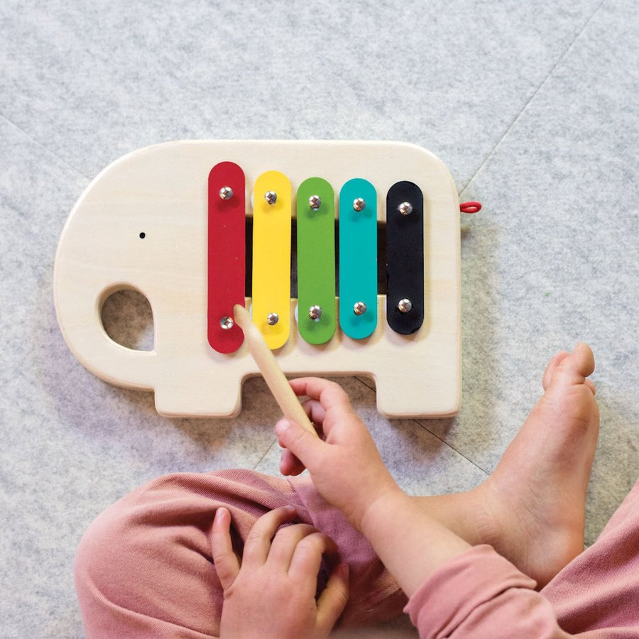 Modern Elephant Xylophone, Playing - Petit Collage - Oompa Toys